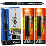Pilot Frixion Clicker Erasable Black Gel Ink Pens, 12 Pens with 2 Packs of Refills