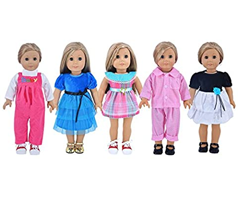 Ebuddy 5-sets Doll Party Dress Clothes Outfits Pajames For 18 inch American Girl