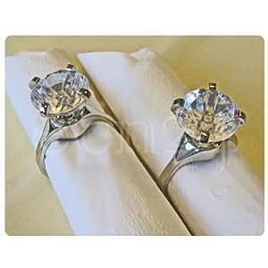 Lot de 2 ronds de serviette - bague diamant plastique