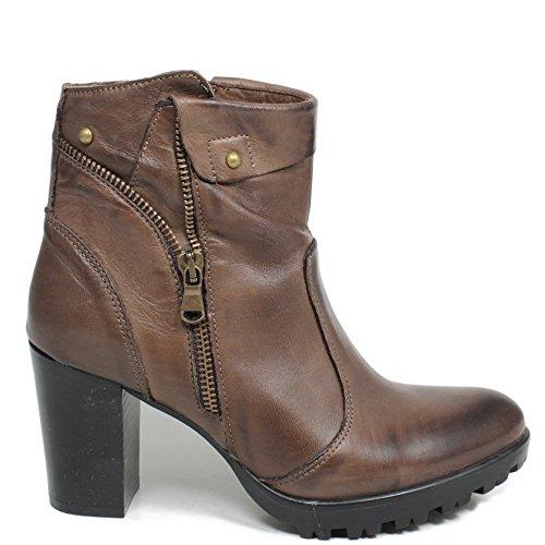 In Time Tronchetti Stivaletti Ankle Boots Donna 0167 Testa di Moro in Vera Pelle Made in Italy Testa di Moro