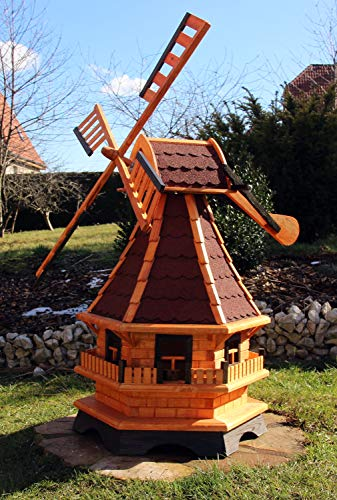 XXL 1,30 m Windmühle für den Garten Solar, Farbe rot imprägniert 18 | Garten > Dekoration > Windmühlen | Holzdekoladen