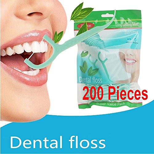 Zahnseide, 200 Stück Cool Mint Zahnpflege Interdental Flosser Zahnreiniger Sticks, Zahnseidensticks, Zahn Draht, Zahnstocher Stick Oralpflege , Minzgeschmack Familie GewöHnliche Zahnpflege