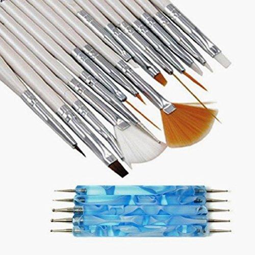 Pinceles para Uñas, Deesos 20pcs Manicure Pedicure Beauty Painting Polish Brush and Dotting Pen Tool Set for Natural, False, Acrylic and Gel Nails