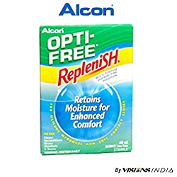 Alcon Opti-Free Replenish Multi-Purpose Disinfecting Solution 60ml for Contact Lens By Visions India (Pack of 1 Solution)