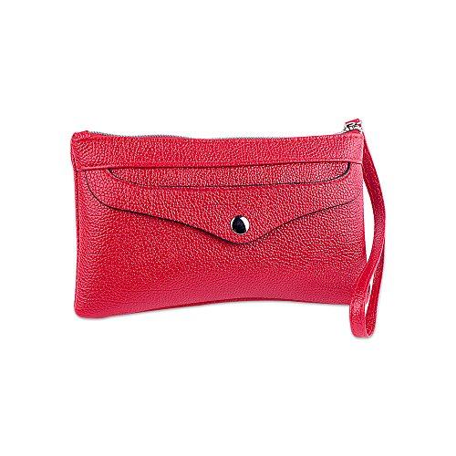 Portafogli per donna con cerniera in pelle con cerniera grande capacità Ya Jin con cinturino da polso Rosso