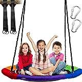 IMMEK Altalena da Giardino per Bambini e Adulti con Sedile Rotondo, capacità di carico Massimo 272kg, Grande Diametro da 101cm, Tessuto Oxford 900D