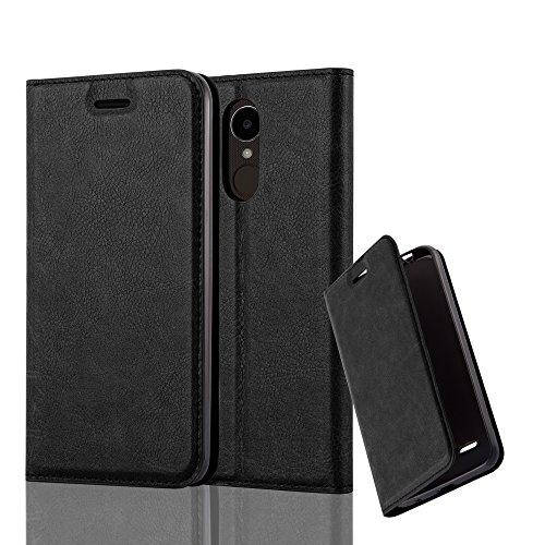Cadorabo Hülle für LG K4 2017 - Hülle in Nacht SCHWARZ – Handyhülle mit Magnetverschluss, Standfunktion und Kartenfach - Case Cover Schutzhülle Etui Tasche Book Klapp Style