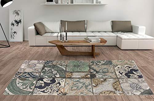 De'Carpet Alfombra Salón Dormitorio Moderna Algodón Lavable Estampada Mosaico Mint 100x140cm