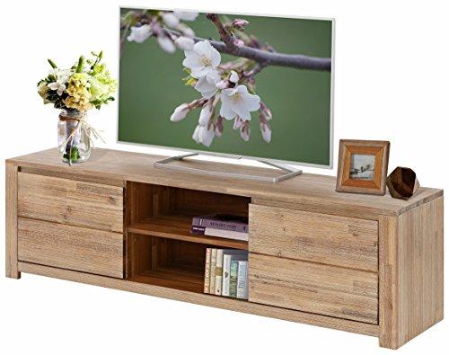 WALDY TV Board Lowboard Fernseh-Tisch TV-Tisch,2 Holztüren, FSC-zertifiziertes Massivholz Akazienholz, gebürstet, 160 x 40 x 45 cm, hellbraun gebürstet