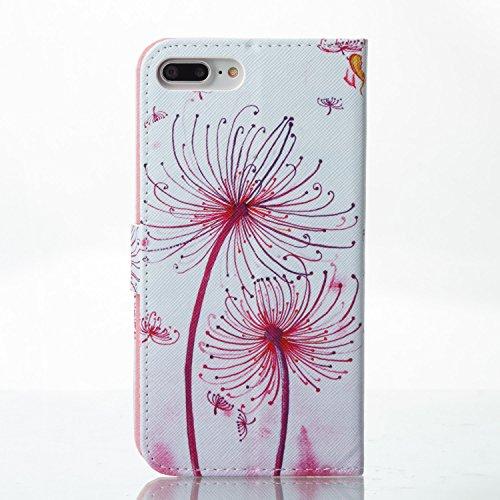 iPhone 7 Plus 5.5 case, Feeltech iPhone 7 Plus 5.5 Custodia in pelle ,Flip Folder Holder della carta Copertura portatile portafoglio portatile Folio Design Premium Elegante [Pattern colorato di pi Dente di leone rosso