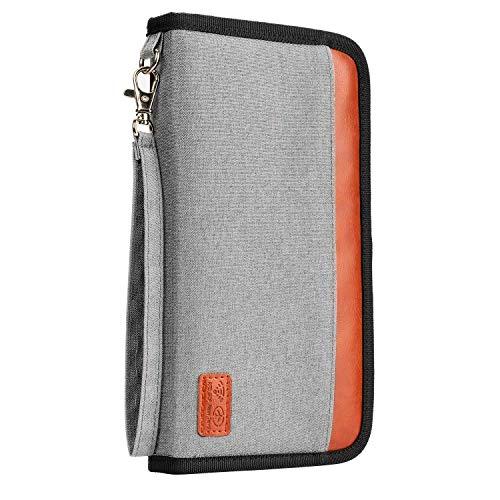 JamBer Reisepass Tasche RFID-Blocker Etui für Reisedokumente Reisepass Hülle Ausweistasche Reisebrieftasche Tickettasche Reiseorganizer,Grau