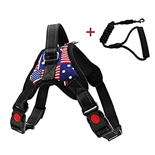 HENREK Dogs and Cats Easy Walk Harness, Pet Walking Vest Harness and Matching Leash Set for Large Dogs and Small Dogs,The Union Flag and Camouflage Pattern Harness Lead (Flag Pattern, XL)