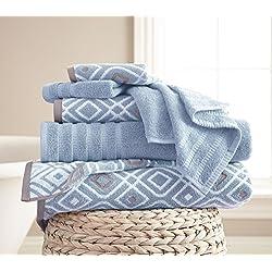 Costa del Pacífico textiles 6pc toalla de hilo teñido, Oxford azul, juego de 6