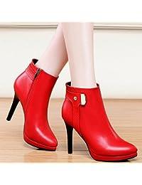 AJUNR-Zapatos De Mujer De Moda Bien Con Tacones Altos Consejos Corto Botas Mujeres Bellas Sexy Con Tacones Altos Y Versátil Otoño Invierno Rojo 37