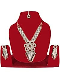 Majik Party Wear Diamond Necklace Set For Women And Girls / (10619) Necklace Set For Wedding
