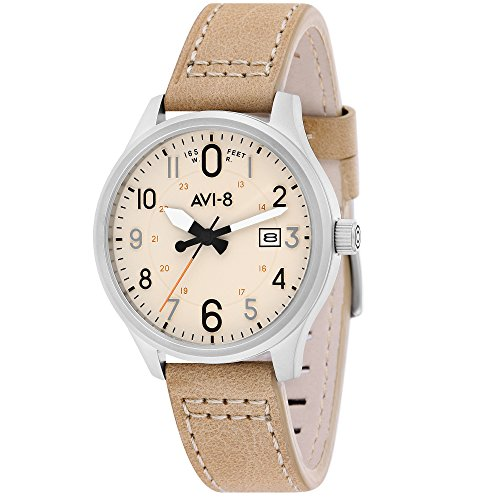 AVI-8 Men's Watch – Hawker Hurricane – Beige Leather – Date – Bracelet av-4053-0h