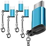 5 Pack Adaptador Tipo C USB-C con 5 colores, AFUNTA USB C a Micro USB Conector Convertir Cargador rápido con llavero para Samsung Galaxy S8 Nuevo Macbook Pixel XL Nexus 5X 6P-azul