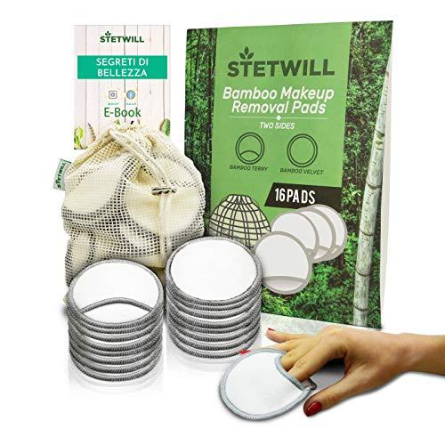 Dischetti Struccanti Lavabili in Bambù | Pulizia Scrub Viso | Dischetti Struccanti Riutilizzabili | 16 Maxi Salviette Struccanti | Biodegradabili, Ecologici | Bamboo Reusable Cotton Pads | Zero Waste