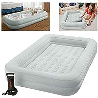 Intex Kidz Travel Cot Bed Inflatable Mattress Air Bed with Pump, Grey, 3-6 yrs