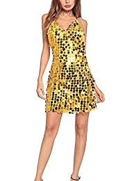 8827e362ca7 Fletion Frauen V-Ausschnitt Pailletten Partykleid Chic Abendkleid  Rückenfrei Kleider Damen Sommer Sexy Ärmellos Minikleid Nachtclub…