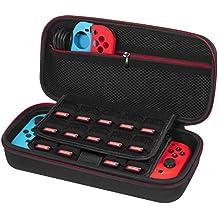 Tasche für Nintendo Switch - Younik Verbesserte Version Harte Reise Hülle Case mit größerem Speicherplatz für 19 Spiele, offizieller Wechselstromadapter und anderes Nintendo Switch Zubehör, Nicht für 3ds