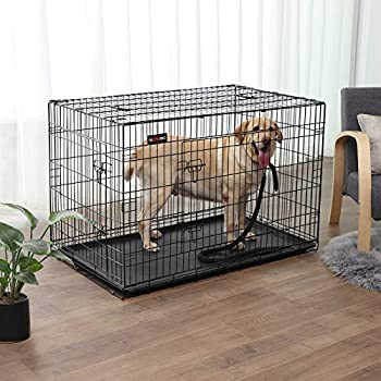 FEANDREA Cage pour Chiens, 2 Portes, Pliable, Transportable, avec Poignées et Plateau, Format XXL 122 x 76 x 81 cm Noir PPD48H