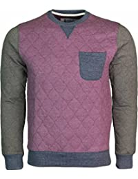 daa067a46b Genetic Apparel Mens Designer Jumper Crew Neck Top With Quilted Diamond  Pattern Long Sleeve Tops