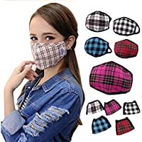 MUKHAKSH Girl's Cotton Check Anti Pollution Dust Mouth Nose Cover Mask (Multicolour, Above 7 years, Print May Vary) - Pack of 5