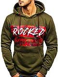 BOLF Herren Kapuzenpullover Sweatshirt Hoodie Aufdruck Street Style J.Style 11022 Grün L [1A1]