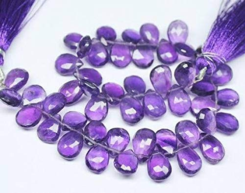 Gems-World Beads Purple African Amethyst Faceted Pear Drop Gemstone Craft Loose Beads Strand 9
