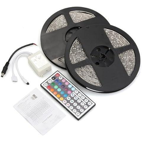 Sonline 10M 2x5m impermeable 3528 de la cinta de Gaza 44 Controlador Colores IR Clave SMD 600 LED RGB lampara flexible. Ideal para jardines, Casas, cocina, debajo del gabinete, Acuarios, Coches, Bar, Luna, bricolaje decoracion del partido