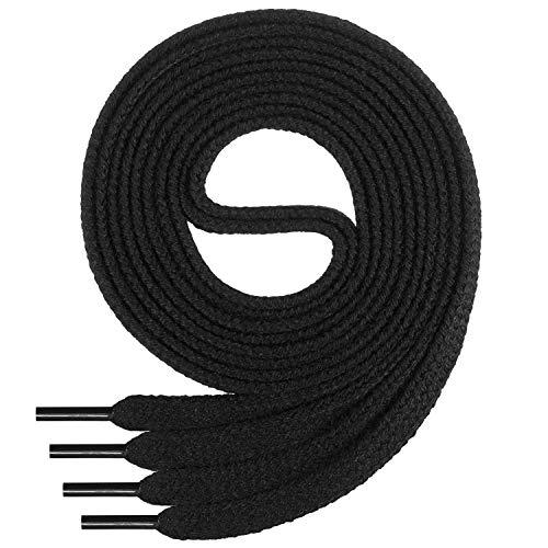 Di Ficchiano Flache SCHNÜRSENKEL aus 100% Baumwolle für Sneaker und Sportschuhe - sehr reißfest - ca. 7 mm breit-black-160