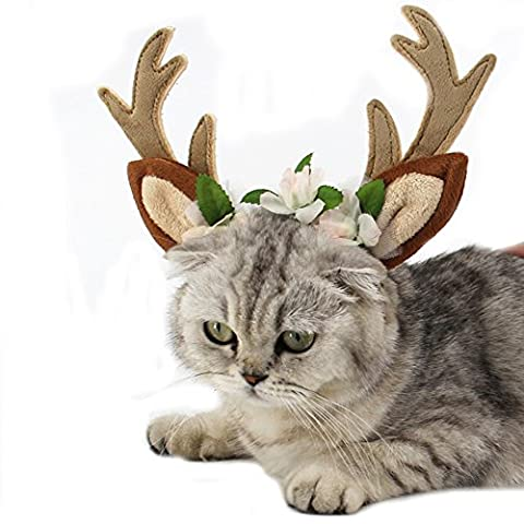 BbearT® Cat Dog Christmas Antlers Hoop Hat Puppy Cat Holiday Accessory Christmas Costume (Flower Antlers Hat,