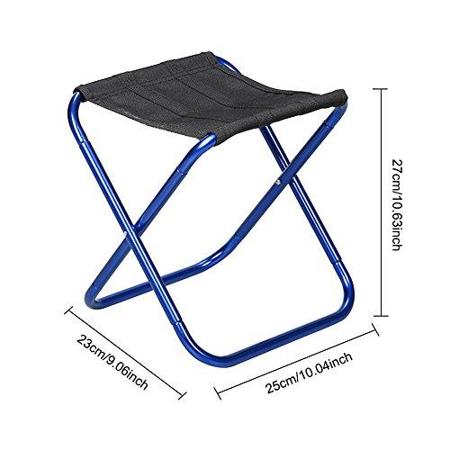 Purebesi extérieur en aluminium ultra léger en alliage Siège de pêche de divertissement Portable pliant Route Chaise de camping BBQ Tabouret pour randonnée Pêche Voyage randonnée, bleu