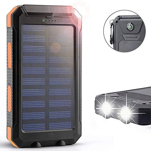 12.000mAh Power Bank mit Dual USB Solar Panel Ladegerät mit 2 LED Licht Karabiner Kompass Tragbar für den Notfall Outdoor Camping Travel,Orange
