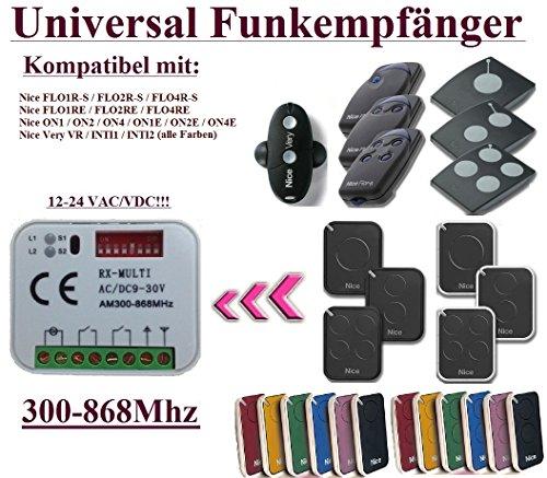 Universal Funkempfänger kompatibel mit Nice 433,92Mhz FLOR-S, FLORE, ON, ONE, INTI, VR handsender. 2-befehl Rolling Fixed code 300Mhz-868Mhz 12 - 24 VAC/DC Funkempfänger. - Board Torantriebe Control