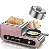 ZOUQILAI Edelstahl Toaster Home Brotbackautomat 2-Slice Spit Driver Mini Frühstück Maker Omelette Knopf Operation Rose Gold