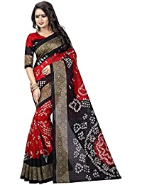 J B Fashion Women's Bhagalpuri Red And Black Saree With Blouse Piece