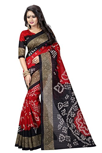 Leriya Fashion Women's Bhagalpuri Saree with Blouse Piece (bandhni-11_Red & Black)  available at amazon for Rs.469