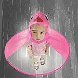 Gaddrt Manteau de Pluie Mignon, UFO Enfants Parapluie Chapeau Magique Mains Libres imperméable (Rose Vif, S)
