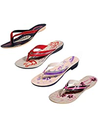 Indistar Women Comfortable Flip Flop House Slipper And Sandal-Black+Red- Pack Of 4 Pairs