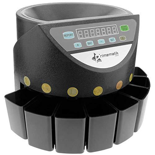 PrimeMatik - Automatischer Münzzähler und Sortierer für Euro Münzen Münzsortierer Münzzählmaschine DB360 schwarz