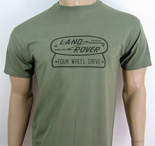 "Land-retro-shirt (Land Rover ""Four Wheel Drive"" Logo T-Shirt in Größe L (101,6 cm bis 106,7 cm))"