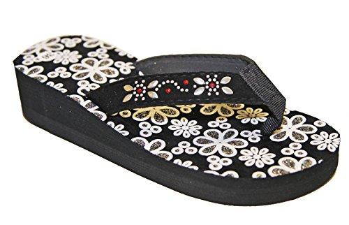 Tongs sandales claquettes talon compensé femme pierre-cedric Noir/Argent