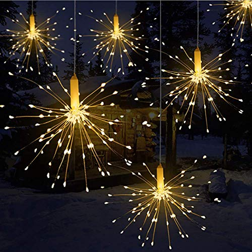LED Luz Cadena Remote Control Battery Box Copper Wire String Explosion Fireworks Light LED Decorative Lights Blanco Cálido IP65resistente al agua, 180