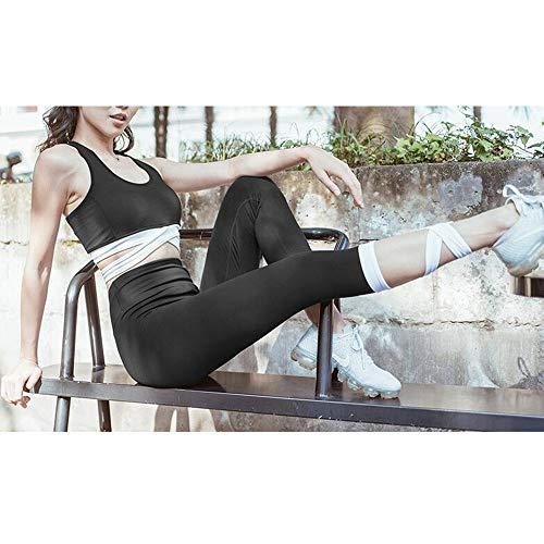 Chenyuying Frauen-Yoga-Kleidung Anzug Shock-Proof Versammlung Sport-BH Peach Peach Hip hohe Taillen-Feste Fitness Pants Zweiteiliges. (Color : Black, Größe : M) - 2