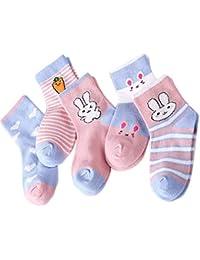 5 Par Calcetines de Canalé para Niños Algodón Invierno Calcetines Calientes con Print Conejo de Adorable Cartel, para Niños Niñas 3-5