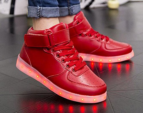 Wealsex Chaussures de Sports Baskets Montante Lacet Boucle LED Clignotante avec 7 couleurs USB Rechargeable Lumineux PU Cuir Noir Blanc Unisex Hommes Femmes Rouge