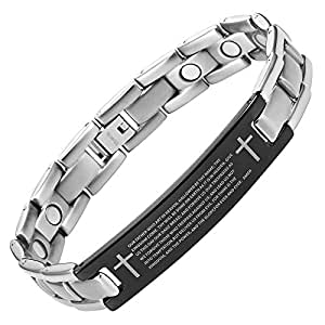 Willis Judd Men's Lords Prayer In English Titanium Magnetic Bracelet