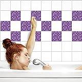 Fliesenaufkleber für Küche und Bad   Fliesenfolie für 15x15cm Fliesen   Mosaik Flieder glänzend   8 Stück   Klebefliesen günstig in 1A Qualität von PrintYourHome